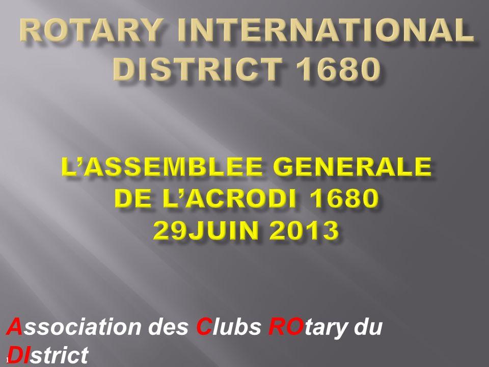 Jacques MULLER Gouverneur 2011/2012 Bilan ACRODI Assemblée Générale ACRODI (Association des Clubs Rotary du District) 2