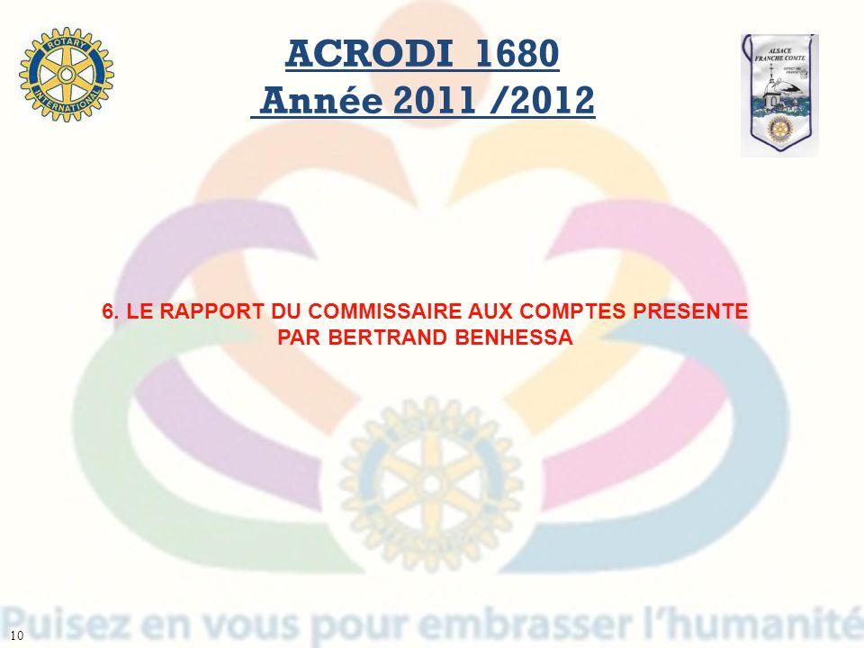 6. LE RAPPORT DU COMMISSAIRE AUX COMPTES PRESENTE PAR BERTRAND BENHESSA ACRODI 1680 Année 2011 /2012 10