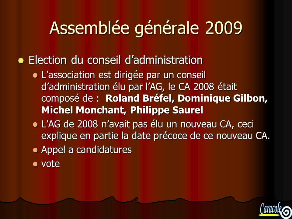 Assemblée générale 2009 Election du conseil dadministration Election du conseil dadministration Lassociation est dirigée par un conseil dadministratio