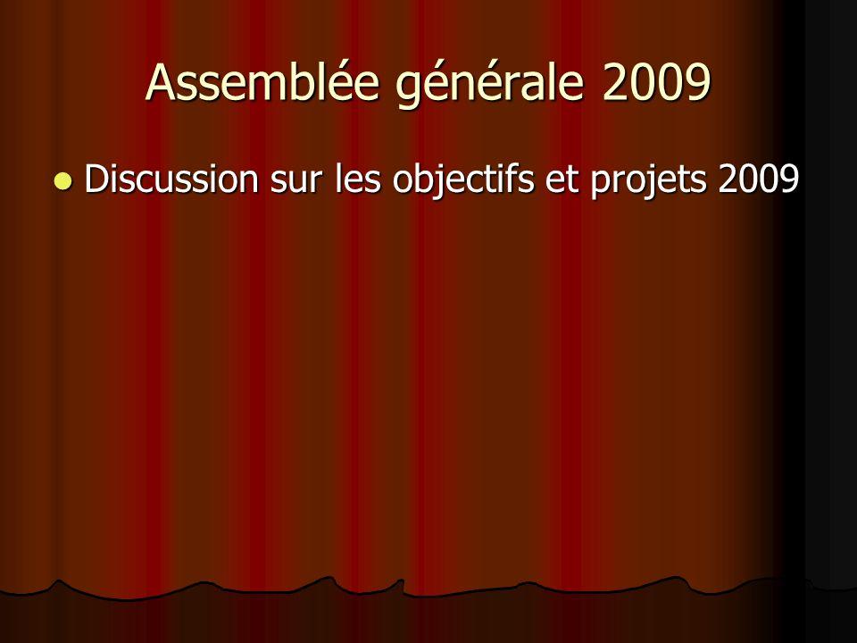 Assemblée générale 2009 Discussion sur les objectifs et projets 2009 Discussion sur les objectifs et projets 2009