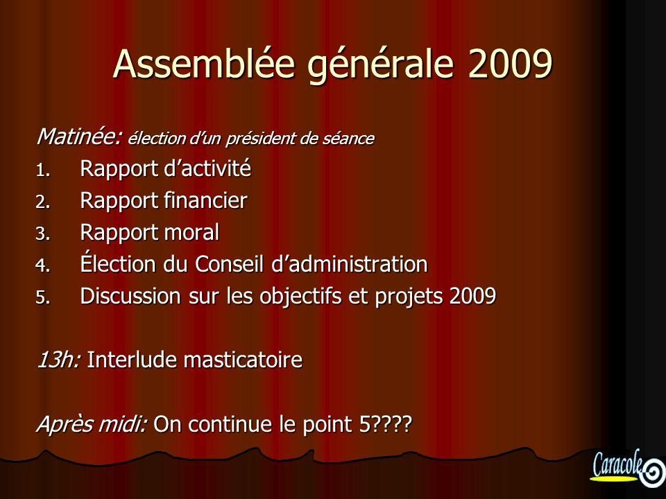 Assemblée générale 2009 Matinée: élection dun président de séance 1. Rapport dactivité 2. Rapport financier 3. Rapport moral 4. Élection du Conseil da