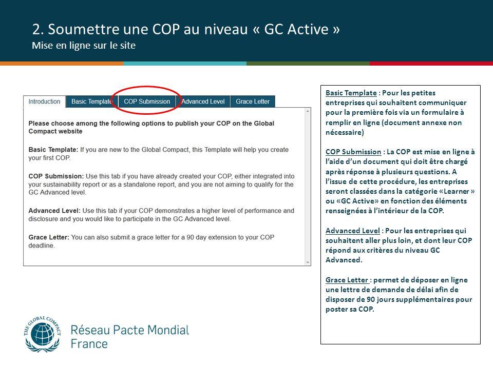 2. Soumettre une COP au niveau « GC Active » Mise en ligne sur le site Basic Template : Pour les petites entreprises qui souhaitent communiquer pour l