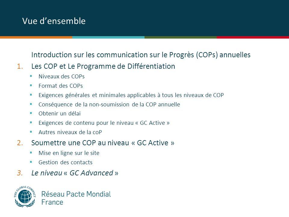 Vue densemble Introduction sur les communication sur le Progrès (COPs) annuelles 1.Les COP et Le Programme de Différentiation Niveaux des COPs Format