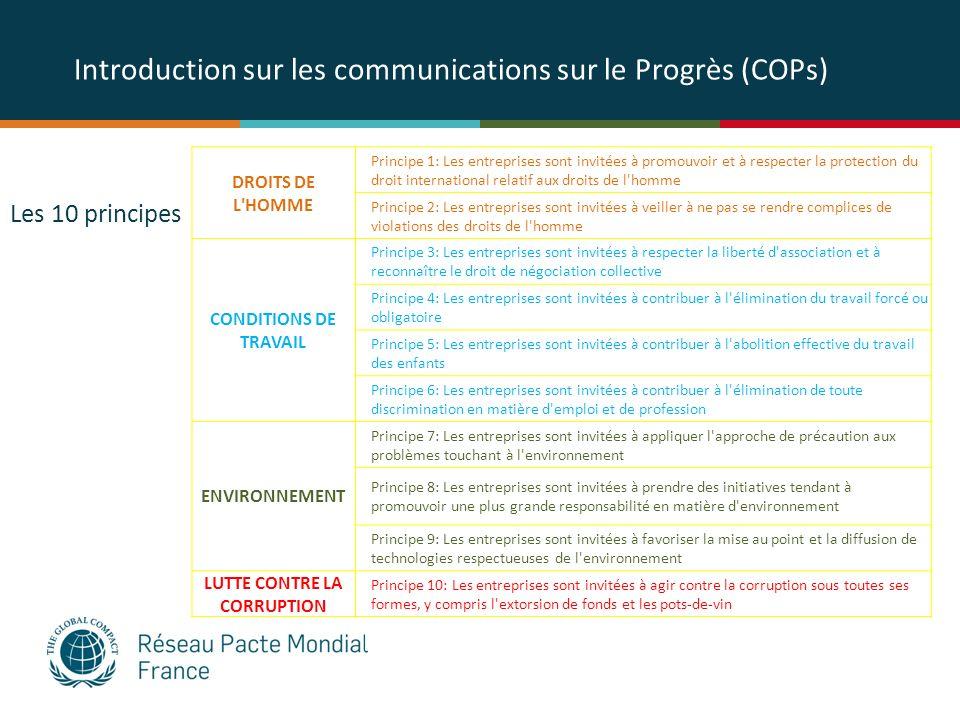 Introduction sur les communications sur le Progrès (COPs) DROITS DE L'HOMME Principe 1: Les entreprises sont invitées à promouvoir et à respecter la p