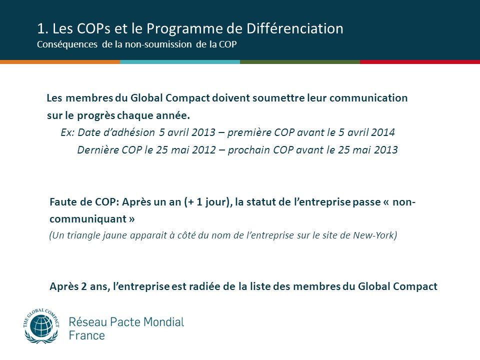 1. Les COPs et le Programme de Différenciation Conséquences de la non-soumission de la COP Les membres du Global Compact doivent soumettre leur commun