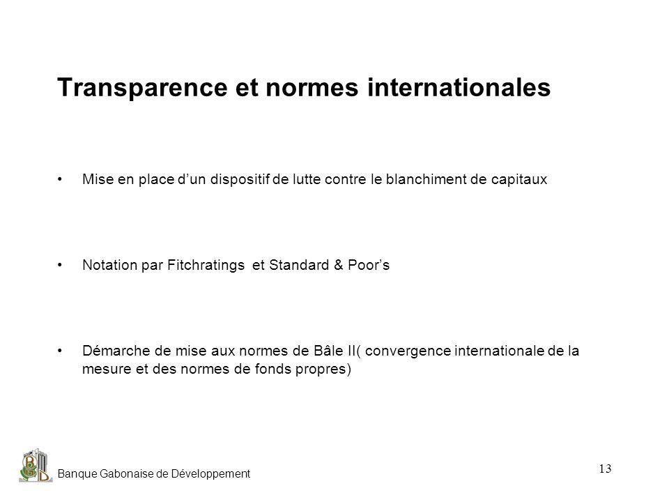 Banque Gabonaise de Développement 13 Transparence et normes internationales Mise en place dun dispositif de lutte contre le blanchiment de capitaux No