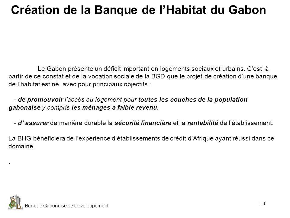 Banque Gabonaise de Développement 14 Le Gabon présente un déficit important en logements sociaux et urbains. Cest à partir de ce constat et de la voca