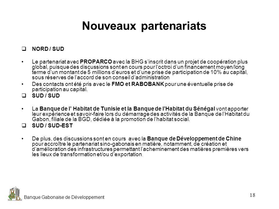 Banque Gabonaise de Développement 18 Nouveaux partenariats NORD / SUD Le partenariat avec PROPARCO avec la BHG sinscrit dans un projet de coopération