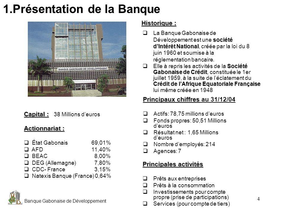 Banque Gabonaise de Développement 4 Principaux chiffres Principaux chiffres au 31/12/04 Actifs: 78,75 millions deuros Fonds propres: 50,51 Millions de