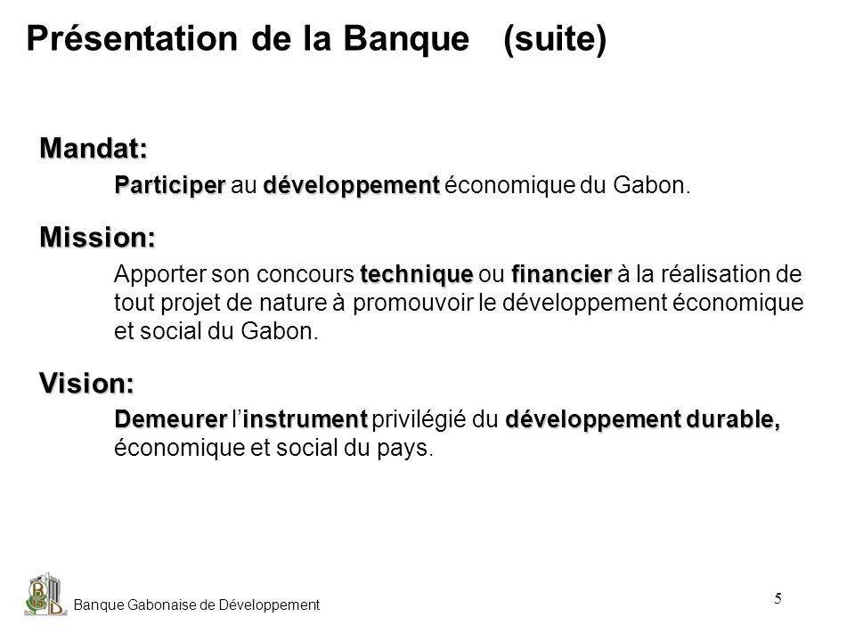 Banque Gabonaise de Développement 6 Libreville 79% des prêts accordés Activité Activité: Banque de développement Franceville 7,6% des prêts accordés Activité Activité: Banque de développement Port-Gentil 5,1% des prêts accordés Activité Activité: Banque de développement Tchibanga 0,6% des prêts accordés Activité Activité: Banque Commerciale Lambaréné 4,2% des prêts accordés Activité Activité: Banque Commerciale Oyem 3,5% des prêts accordés Activité Activité: Banque de développement Mouila (nouvellement crée) Le Réseau Les villes de Koulamoutou et Makokou sont respectivement couvertes par les agences de Franceville et Oyem.