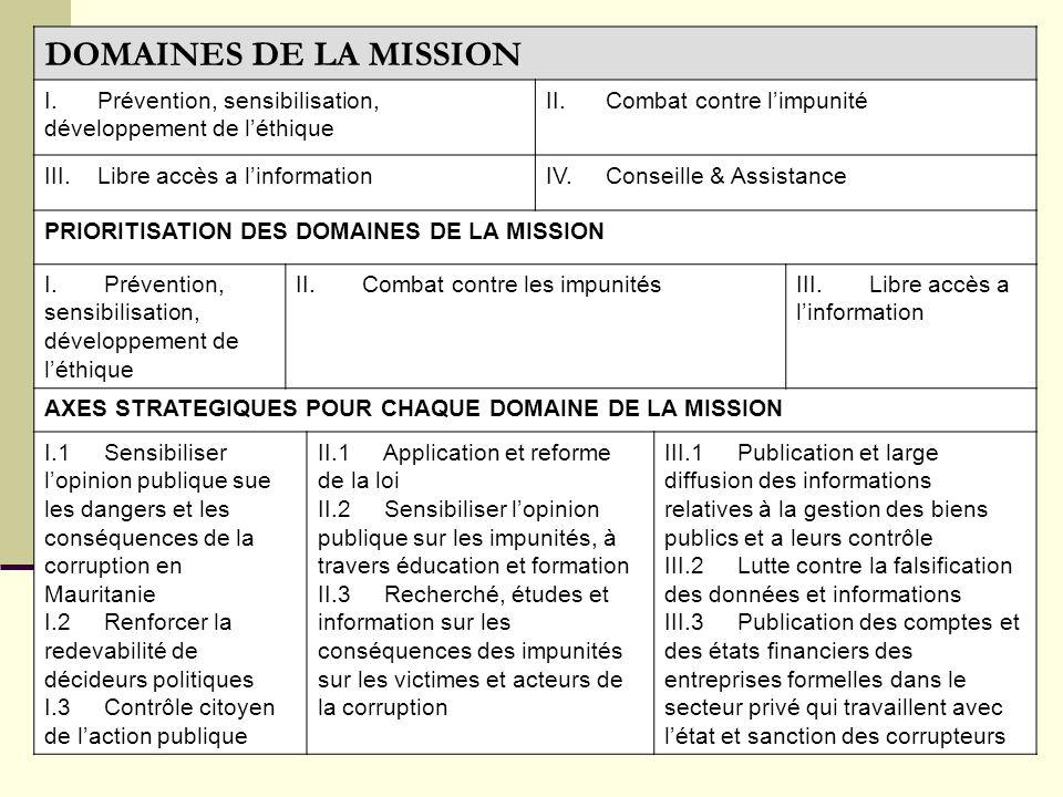DOMAINES DE LA MISSION I. Prévention, sensibilisation, développement de léthique II. Combat contre limpunité III. Libre accès a linformationIV. Consei