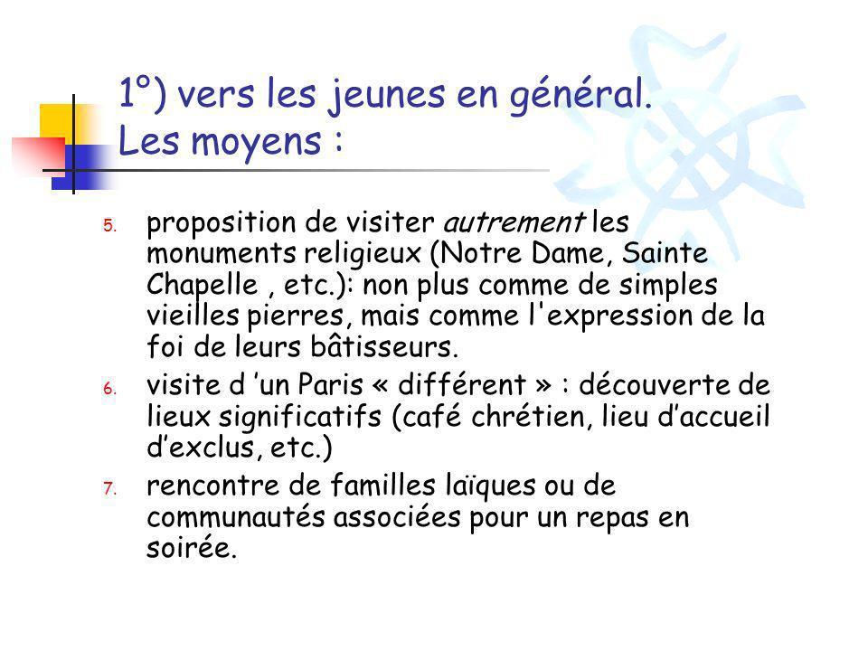 1°) vers les jeunes en général. Les moyens : 5. proposition de visiter autrement les monuments religieux (Notre Dame, Sainte Chapelle, etc.): non plus
