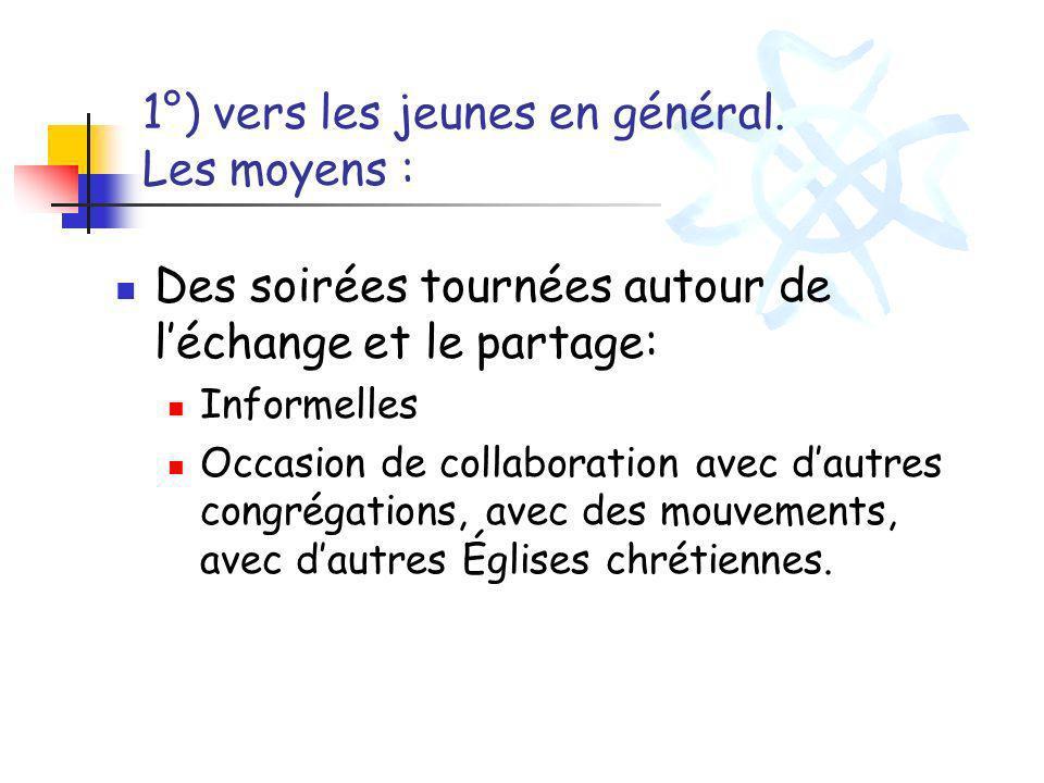 1°) vers les jeunes en général. Les moyens : Des soirées tournées autour de léchange et le partage: Informelles Occasion de collaboration avec dautres