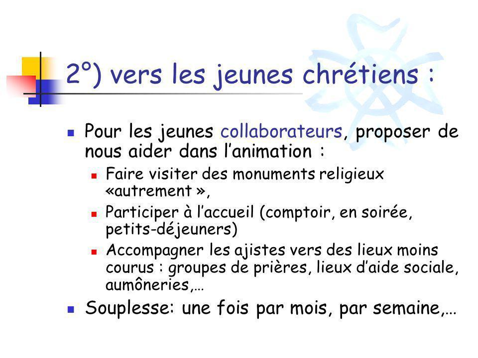 2°) vers les jeunes chrétiens : Pour les jeunes collaborateurs, proposer de nous aider dans lanimation : Faire visiter des monuments religieux «autrem