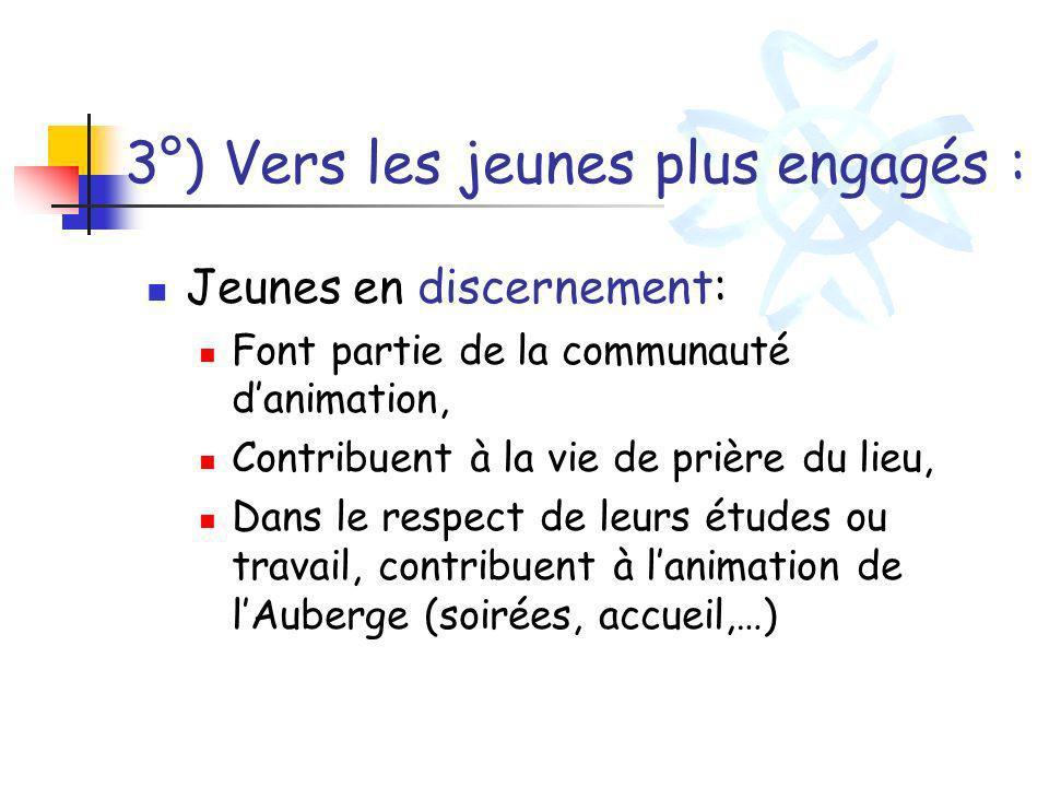 3°) Vers les jeunes plus engagés : Jeunes en discernement: Font partie de la communauté danimation, Contribuent à la vie de prière du lieu, Dans le re