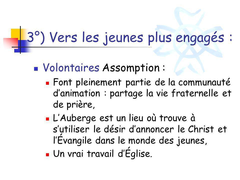 3°) Vers les jeunes plus engagés : Volontaires Assomption : Font pleinement partie de la communauté danimation : partage la vie fraternelle et de priè