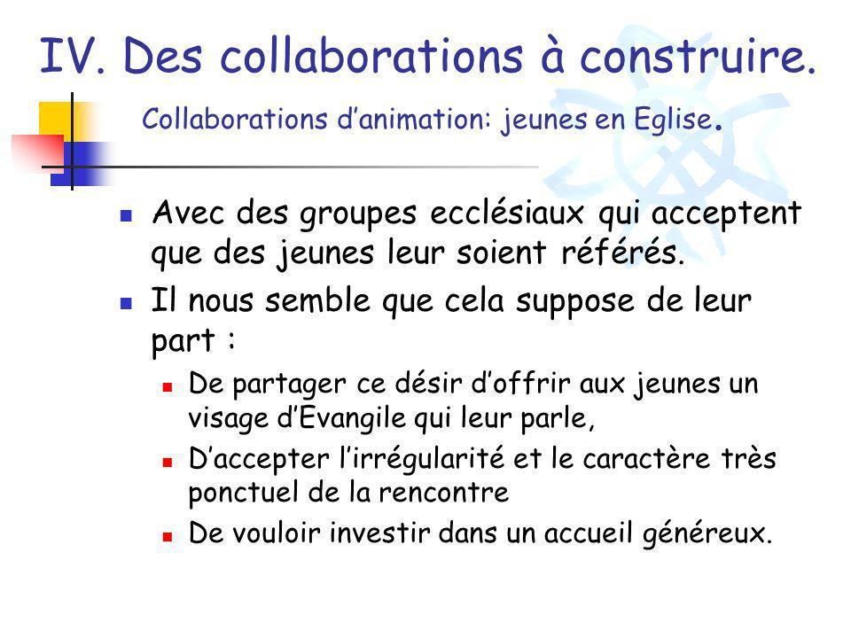IV. Des collaborations à construire. Collaborations danimation: jeunes en Eglise. Avec des groupes ecclésiaux qui acceptent que des jeunes leur soient
