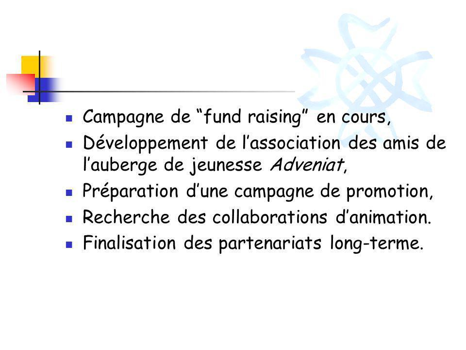 Campagne de fund raising en cours, Développement de lassociation des amis de lauberge de jeunesse Adveniat, Préparation dune campagne de promotion, Re