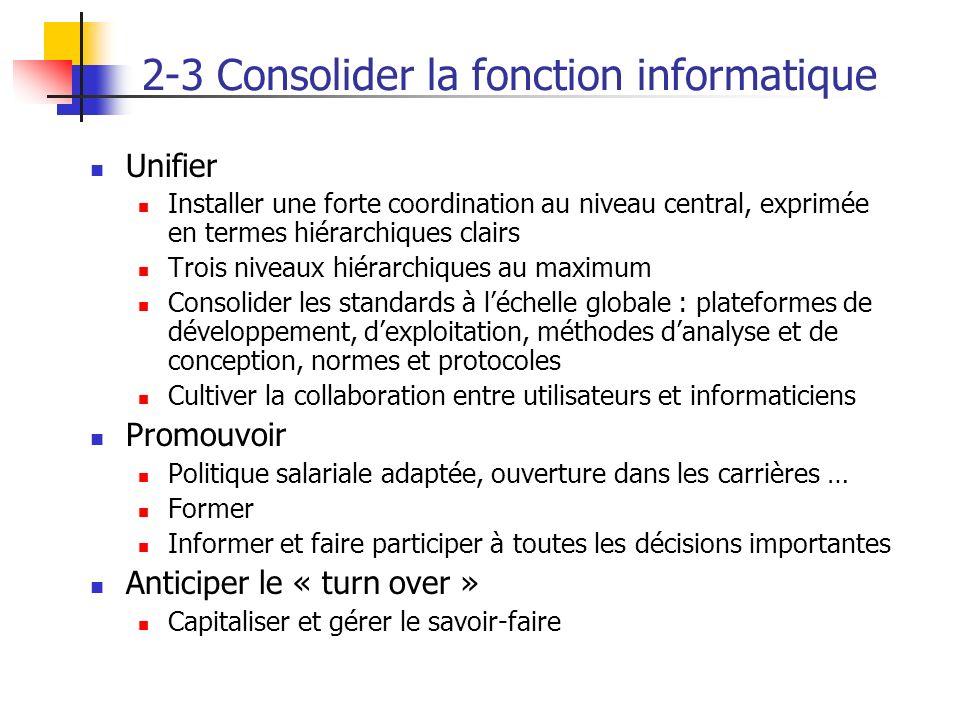 2-3 Consolider la fonction informatique Unifier Installer une forte coordination au niveau central, exprimée en termes hiérarchiques clairs Trois nive