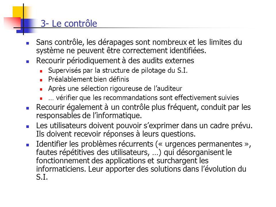 3- Le contrôle Sans contrôle, les dérapages sont nombreux et les limites du système ne peuvent être correctement identifiées. Recourir périodiquement