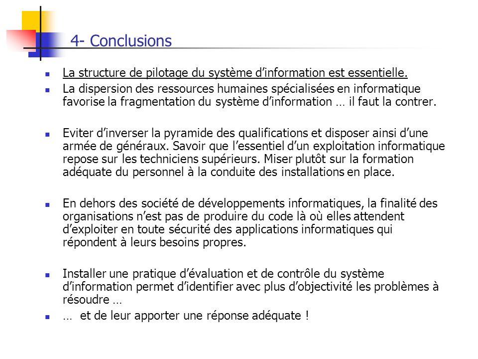 4- Conclusions La structure de pilotage du système dinformation est essentielle. La dispersion des ressources humaines spécialisées en informatique fa