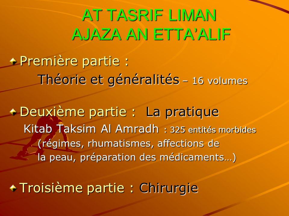 AT TASRIF LIMAN AJAZA AN ETTAALIF AT TASRIF LIMAN AJAZA AN ETTAALIF Première partie : Théorie et généralités – 16 volumes Deuxième partie : La pratiqu