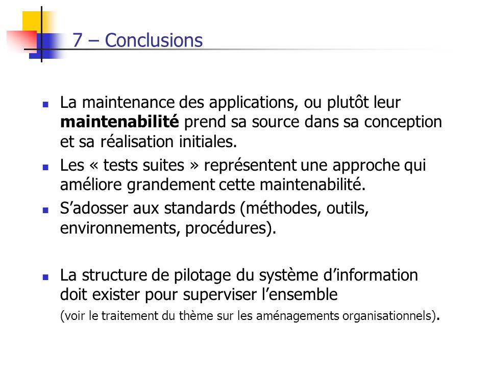 7 – Conclusions La maintenance des applications, ou plutôt leur maintenabilité prend sa source dans sa conception et sa réalisation initiales. Les « t