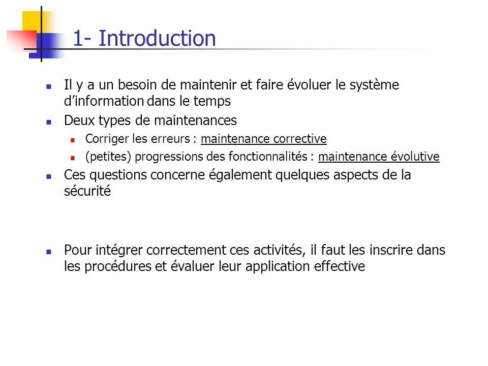 1- Introduction Il y a un besoin de maintenir et faire évoluer le système dinformation dans le temps Deux types de maintenances Corriger les erreurs :