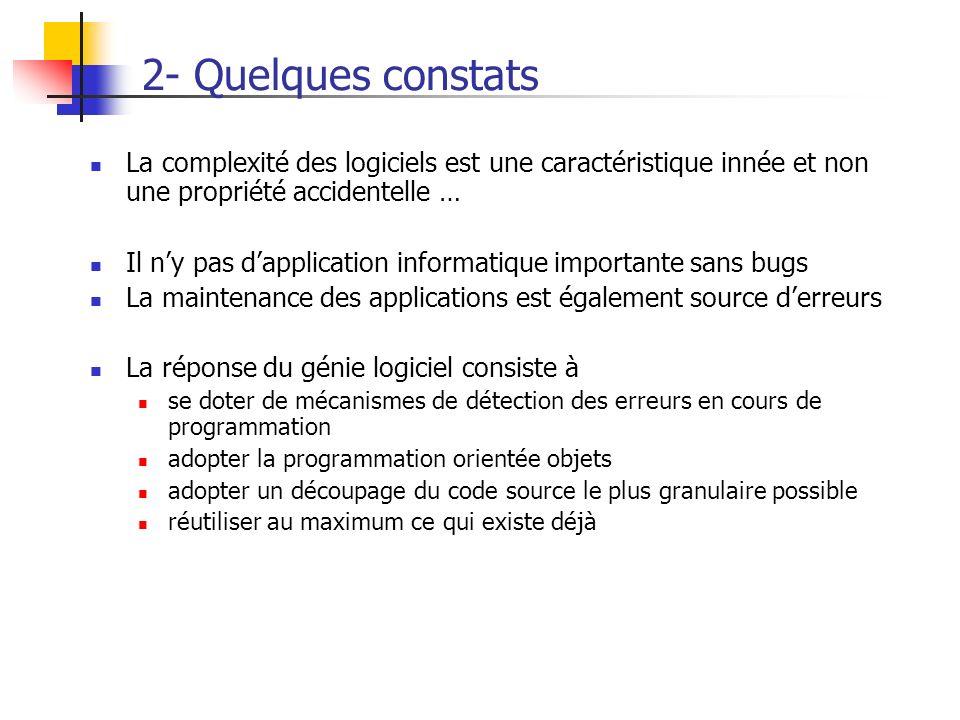 2- Quelques constats La complexité des logiciels est une caractéristique innée et non une propriété accidentelle … Il ny pas dapplication informatique