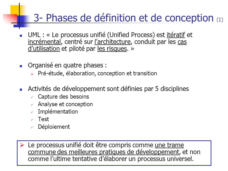 3- Phases de définition et de conception (1) UML : « Le processus unifié (Unified Process) est itératif et incrémental, centré sur larchitecture, cond