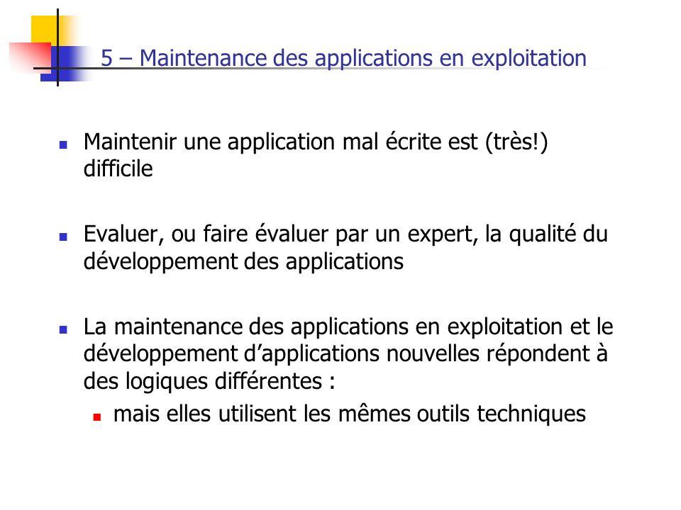5 – Maintenance des applications en exploitation Maintenir une application mal écrite est (très!) difficile Evaluer, ou faire évaluer par un expert, l