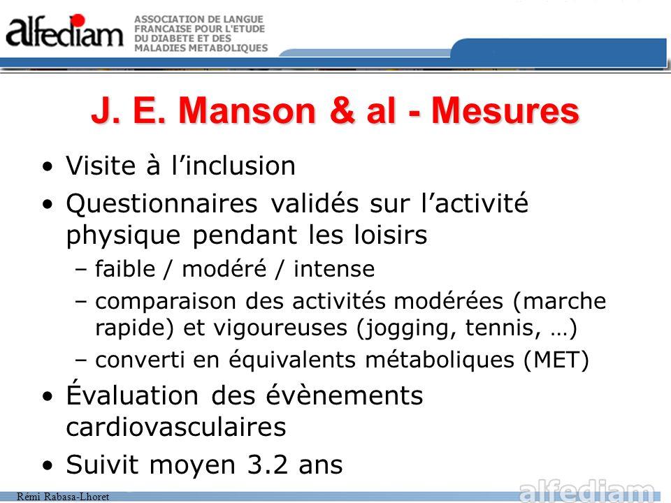Rémi Rabasa-Lhoret J. E. Manson & al - Mesures Visite à linclusion Questionnaires validés sur lactivité physique pendant les loisirs –faible / modéré