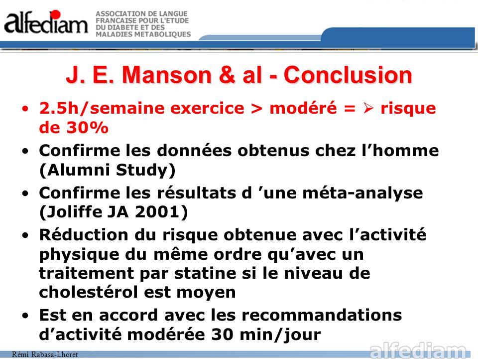 Rémi Rabasa-Lhoret J. E. Manson & al - Conclusion 2.5h/semaine exercice > modéré = risque de 30% Confirme les données obtenus chez lhomme (Alumni Stud
