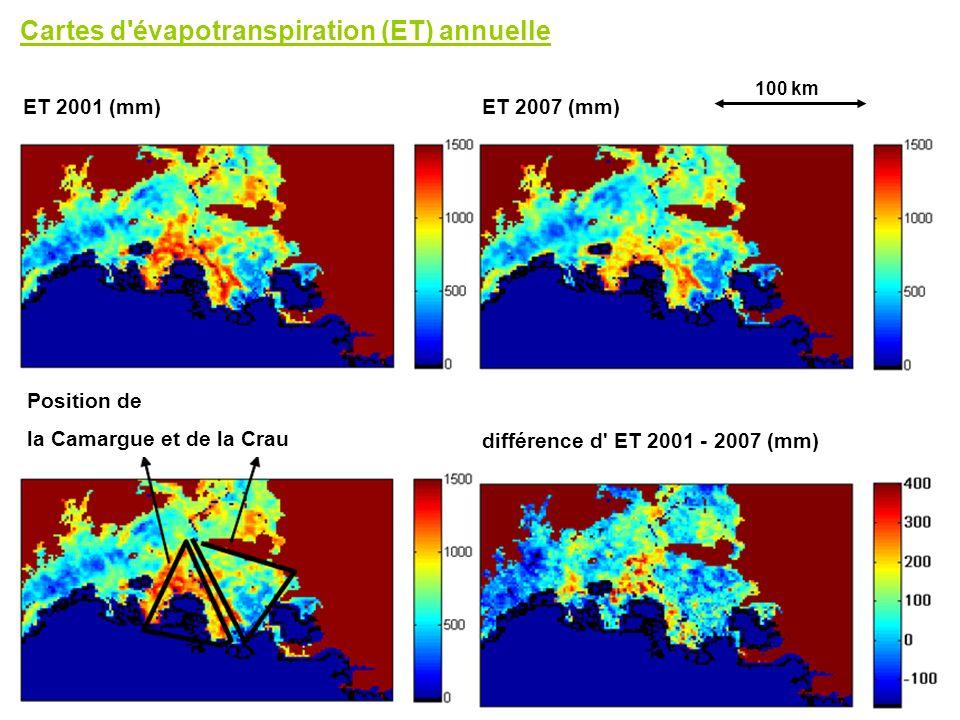 Cartes d'évapotranspiration (ET) annuelle ET 2001 (mm)ET 2007 (mm) différence d' ET 2001 - 2007 (mm) Position de la Camargue et de la Crau 100 km
