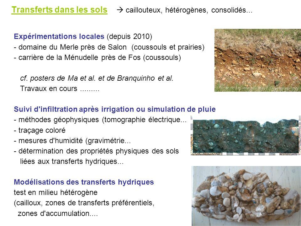 Transferts dans les sols caillouteux, hétérogènes, consolidés... Expérimentations locales (depuis 2010) - domaine du Merle près de Salon (coussouls et