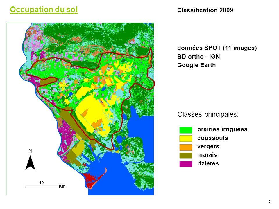 Occupation du sol Classification 2009 données SPOT (11 images) BD ortho - IGN Google Earth prairies irriguées coussouls vergers marais rizières Classe