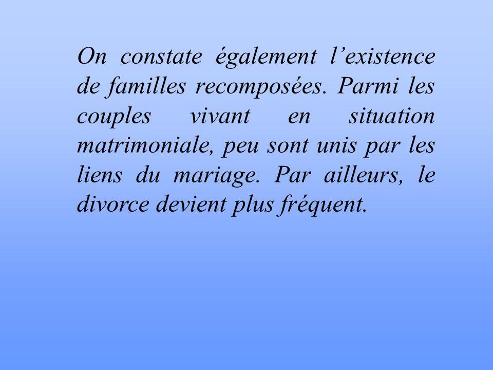 1. LES FORMES ACTUELLES DE LA FAMILLE: La Famille passe de plus en plus de la forme élargie à la forme nucléaire. Le nombre de familles mono-parentale