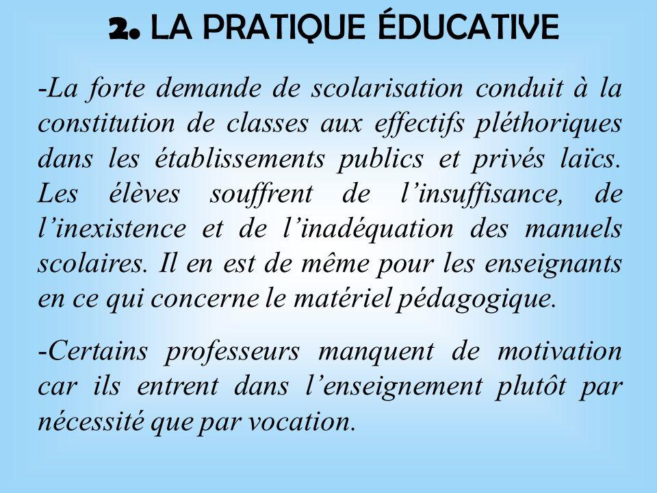 1. LA CARTE SCOLAIRE Les États, malgré leurs efforts de création de nouveaux établissements, narrivent pas à répondre à la forte demande de scolarisat