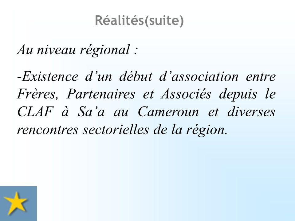-Participation des œuvres lasalliennes à des structures de collaboration avec lÉtat (enseignement catholique), avec lÉglise locale, structures variables selon les pays.