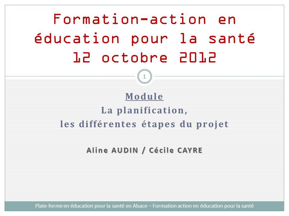 Module La planification, les différentes étapes du projet Aline AUDIN / Cécile CAYRE Formation-action en éducation pour la santé 12 octobre 2012 Plate