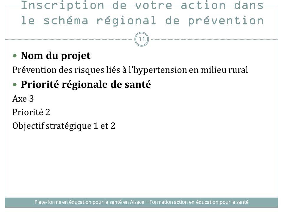 Inscription de votre action dans le schéma régional de prévention Nom du projet Prévention des risques liés à lhypertension en milieu rural Priorité r