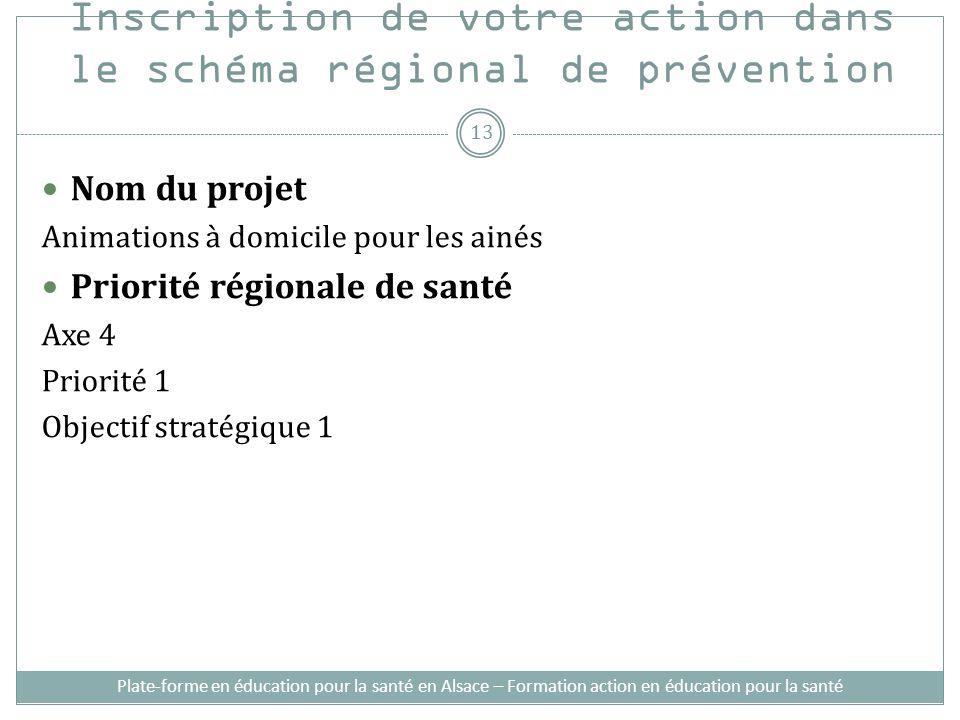 Inscription de votre action dans le schéma régional de prévention Nom du projet Animations à domicile pour les ainés Priorité régionale de santé Axe 4