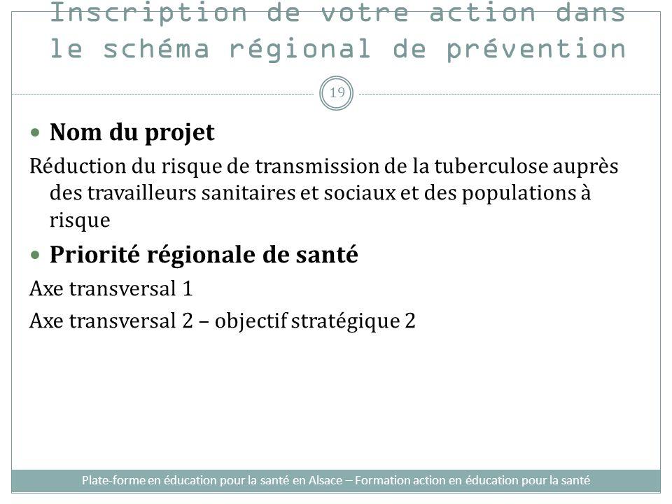Inscription de votre action dans le schéma régional de prévention Nom du projet Réduction du risque de transmission de la tuberculose auprès des trava