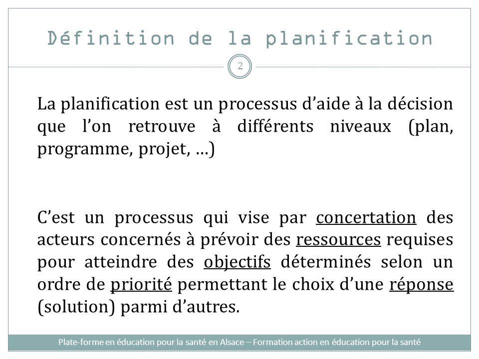 Définition de la planification La planification est un processus daide à la décision que lon retrouve à différents niveaux (plan, programme, projet, …