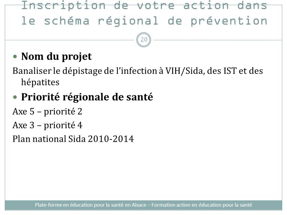 Inscription de votre action dans le schéma régional de prévention Nom du projet Banaliser le dépistage de linfection à VIH/Sida, des IST et des hépati
