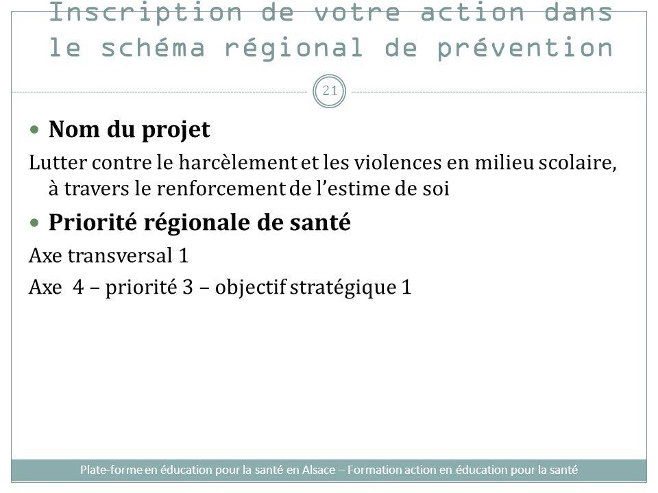 Inscription de votre action dans le schéma régional de prévention Nom du projet Lutter contre le harcèlement et les violences en milieu scolaire, à tr
