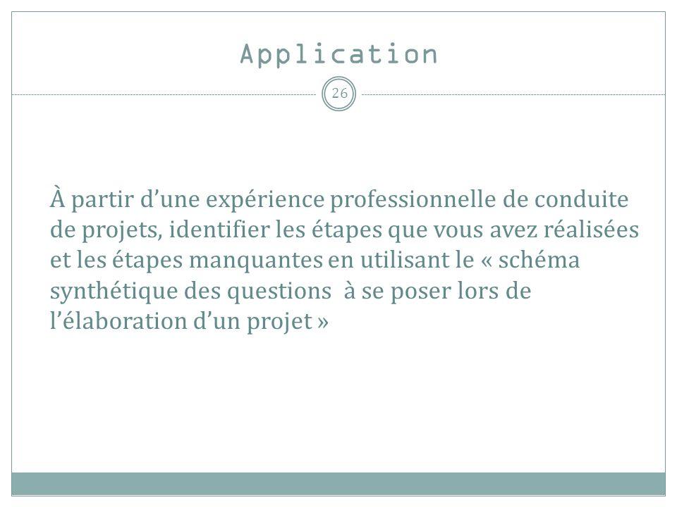 Application À partir dune expérience professionnelle de conduite de projets, identifier les étapes que vous avez réalisées et les étapes manquantes en