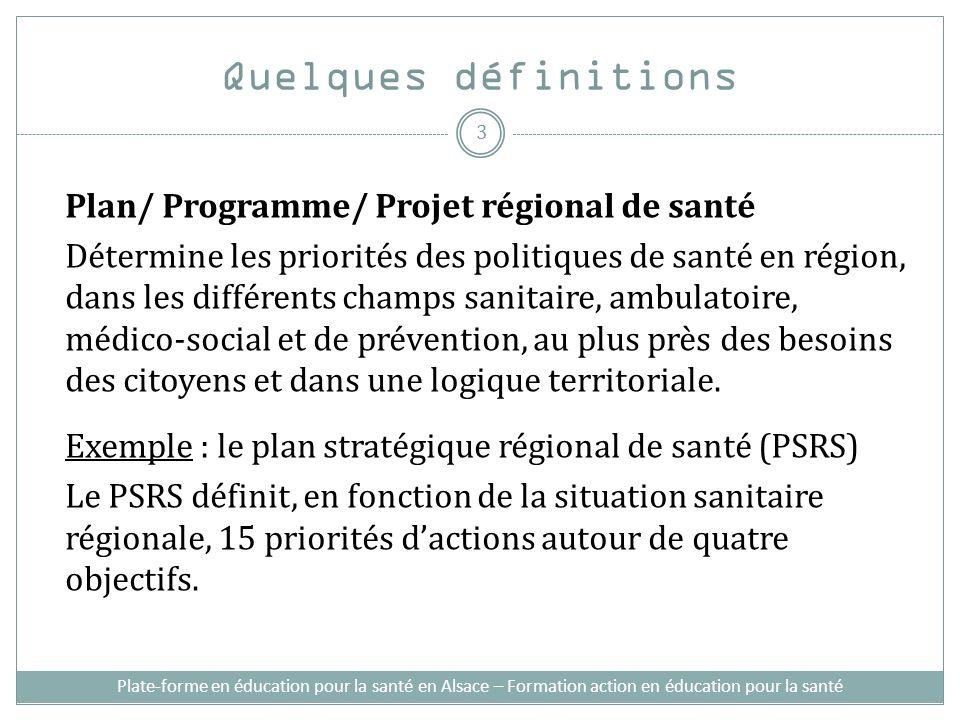Plate-forme en éducation pour la santé en Alsace – Formation action en éducation pour la santé Quelques définitions Plan/ Programme/ Projet régional d