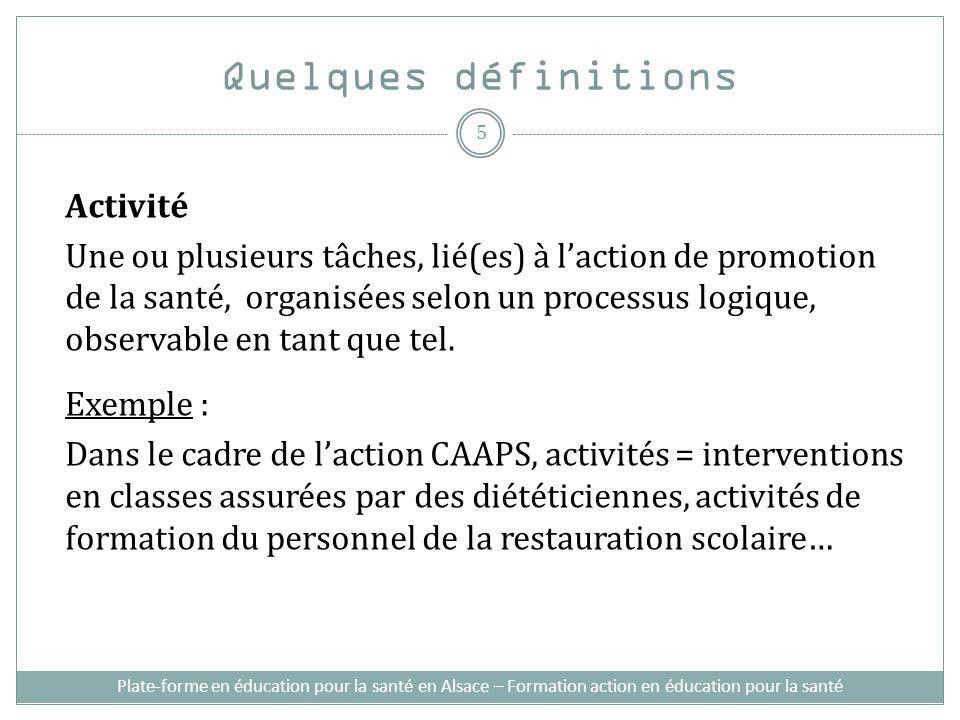 Plate-forme en éducation pour la santé en Alsace – Formation action en éducation pour la santé Quelques définitions Activité Une ou plusieurs tâches,