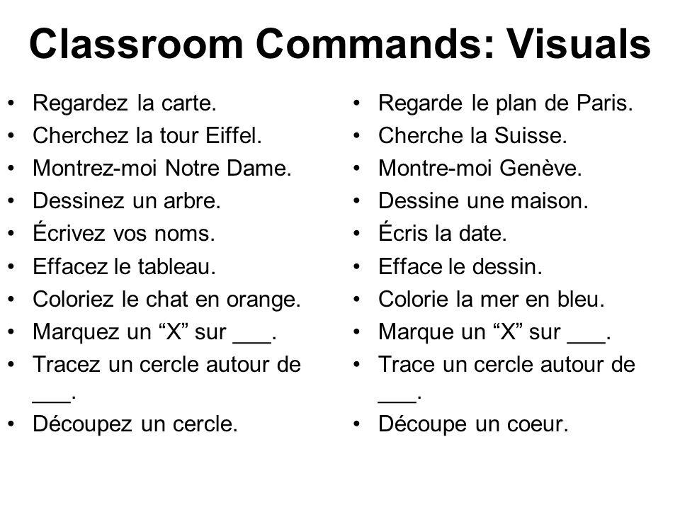 Classroom Commands: Visuals Regardez la carte. Cherchez la tour Eiffel. Montrez-moi Notre Dame. Dessinez un arbre. Écrivez vos noms. Effacez le tablea
